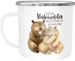 Emaille Tasse Becher Du bist mein Verbündeter Bären Pärchen Geschenk Liebe Spruch Liebesspruch Moonworks®