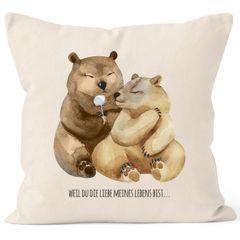 Kissen-Bezug Liebe meines Lebens Bären Geschenk Liebe Spruch Tasse MoonWorks®