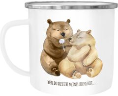 Emaille Tasse Becher Liebe meines Lebens Bären Geschenk Liebe Spruch Tasse Liebessprüche Kaffeetasse Moonworks®