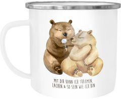 Emaille Tasse Becher Liebe Spruch mit dir kann ich träumen Geschenk Valentinstag Weihnachten Liebesspruch verliebte Bären Kaffeetasse Moonworks®