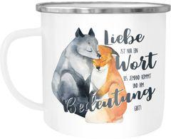 Emaille Tasse Becher Geschenk Liebe ist nur ein Wort Fuchs Liebe Spruch Liebessprüche Kaffeetasse für Verliebte Moonworks®