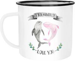 Emaille Tasse Becher Geschenk Liebe I dolphinitely love you Delfin Delphin Tasse Liebessprüche Spruch Moonworks®