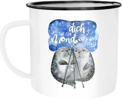 Emaille Tasse Becher Ich liebe dich bis zum Mond und wieder zurück Liebe Spruch Geschenk Seehunde Robben Sterne Kaffeetasse Moonworks®