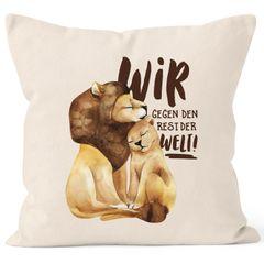 Kissen-Bezug Liebe Geschenk Wir gegen den Rest der Welt Spruch Löwe Paar Liebesspuch Kissen-Hülle Baumwolle MoonWorks®