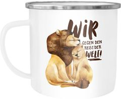 Emaille Tasse Becher Liebe Geschenk Wir gegen den Rest der Welt Spruch Löwe Paar Liebesspuch Kaffeetasse Moonworks®