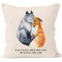 Kissen-Bezug Ich will dich heute morgen nächste Woche Fuchs Geschenk Liebe Spruch verliebt Freund Freundin Kissen-Hülle Baumwolle MoonWorks®