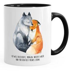 Geschenk-Tasse Liebe Spruch Ich will dich heute morgen nächste Woche Fuchs verliebt Freund Freundin MoonWorks®
