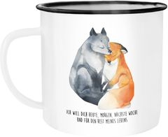 Emaille Tasse Becher Ich will dich heute morgen nächste Woche Fuchs Geschenk Liebe Spruch verliebt Freund Freundin Kaffeetasse Moonworks®