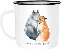 Emaille Tasse Becher Liebe meines Lebens Fuchs Geschenk Liebe Spruch Kaffeetasse Moonworks®