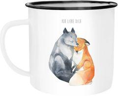 Emaille Tasse Becher Ich liebe dich Fuchs Geschenk Liebe Spruch Kaffeetasse Moonworks®