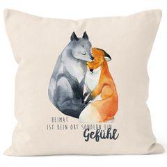 Kissen-Bezug Heimat ist kein Ort sondern ein Gefühl Fuchs Liebe Spruch Geschenk Kissenhülle Dekokissen Baumwolle MoonWorks®