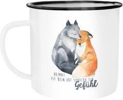 Emaille Tasse Becher Heimat ist kein Ort sondern ein Gefühl Fuchs Liebe Spruch Geschenk Kaffeetasse Moonworks®