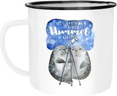 Emaille Tasse Becher Geschenk Liebe Mit dir kann ich den Himmel berühren Spruch Liebesspruch Seehunde Robben Sterne Kaffeetasse Moonworks®