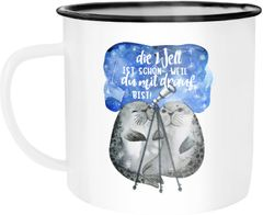 Emaille Tasse Becher Die Welt ist schön weil du mit drauf bist Geschenk Liebe Spruch Seehunde Robben Sterne Kaffeetasse Moonworks®