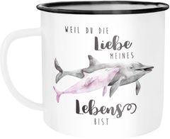 Emaille Tasse Becher Liebe meines Lebens Delfin Delphin Watercolor Liebe Spruch Geschenk Kaffeetasse Moonworks®