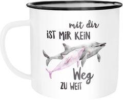 Emaille Tasse Becher Mit dir ist mir kein Weg zu weit Delfin Delphin Liebe Spruch Geschenk Weihnachten Valentinstag Kaffeetasse Moonworks®