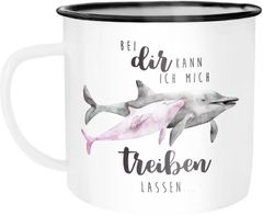 Emaille Tasse Becher Bei dir kann ich mich treiben lassen Delfin Delphin Liebe Spruch Liebesspruch Geschenk Weihnachten Valentinstag Moonworks®