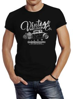 Herren T-Shirt Hot Rod Retro Auto Vintage Car Oldschool Mobile Slimfit Neverless
