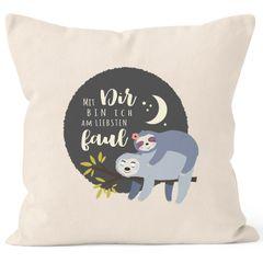 Kissen-Bezug Faultier Mit Dir bin ich am liebsten faul Spruch Pärchen Geschenk Mond Kissen-Hülle Deko-Kissen Baumwolle MoonWorks®
