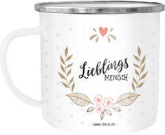 Emaille Tasse Becher Heldin des Alltags Muttertags-Geschenk Geschenk-Tasse Weihnachten Kaffeetasse Moonworks®