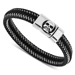 Lederarmband Totenkopf Skull Herren Armband geflochtenes Rindsleder mit Edelstahl Biker Autiga®