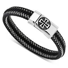 Lederarmband Eisernes Kreuz Herren Armband geflochtenes Rindsleder mit Edelstahl Biker Autiga®