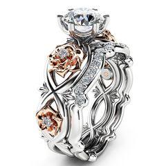Damenring Zirkonia Stein Rose Infinity Unendlichkeit Verlobungsring Solitärring Bandring  Autiga®