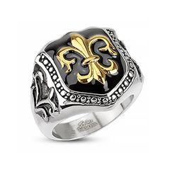 Herren Edelstahl Ring Fleur De Lis Freimaurer Ring Siegelring