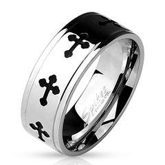 cooler Herrenring Edelstahl Herren Ring schwarzes Kreuz black Cross Männer Ring