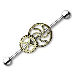 Industrial Stab Piercing Ohr Zahnräder Straight Barbell Hantel