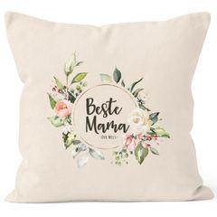 Kissen-Bezug Beste Mama der Welt Muttertag Watercolor Blumen Geschenk Kissen-Hülle Deko-Kissen Baumwolle MoonWorks®