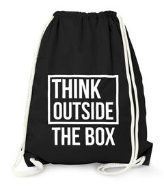 Turnbeutel Think Outside the Box Hipster Beutel Tasche Jutebeutel Gymsac Gymbag Moonworks®