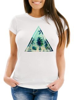 Damen T-Shirt Foto Print Ananas Palmen Galaxy Sommer Tropical Dreieck Neverless®