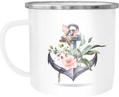 Emaille Tasse Becher Kaffee-Tasse Anker Blumen Watercolor Tee-Tasse Autiga®