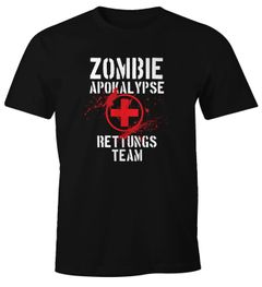 Herren T-Shirt Zombie Apokalypse Rettungsteam Fasching Halloween Verkleidung Horror Fun-Shirt Moonworks®