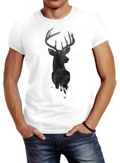 Herren T-Shirt Hirsch Geweih Kopf Deer Watercolor Polygon Tier Slim Fit Neverless®