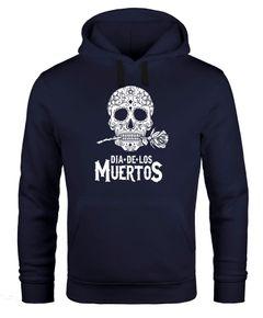 Hoodie Herren Sugar Skull Dia De Los Muertos Totenkopf mit Blumen Kapuzen-Pullover Männer Neverless®