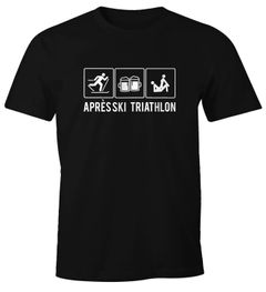 Herren T-Shirt Après Ski Triathlon Ski-Party Hüttengaudi lustig Fun-Shirt Moonworks®