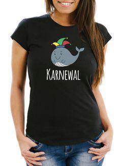 Damen T-Shirt Karne Wal Karnewal Karneval Fasching lustig Fun-Shirt Slim Fit Moonworks®