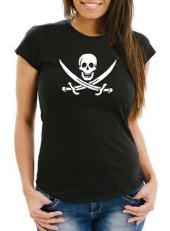 Damen T-Shirt Pirat Piratin Skull Jolly Roger Calico Fasching Fun-Shirt Slim Fit Moonworks®