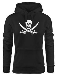 Kapuzen-Pullover Damen Pirat Piratin Skull Jolly Roger Calico Fasching Hoodie Moonworks®