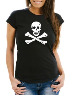 Damen T-Shirt Pirat Piratin Skull Jolly Roger Edward England Fasching Fun-Shirt Slim Fit Moonworks®