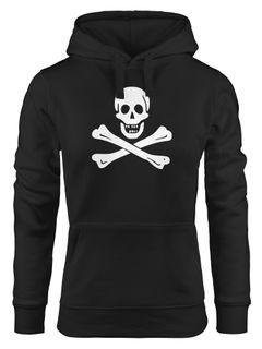 Kapuzen-Pullover Damen Pirat Piratin Skull Jolly Roger Edward England Fasching Hoodie Moonworks®