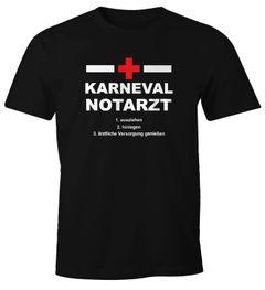Herren T-Shirt Karneval Faschings Notarzt lustiges T-Shirt Spruch Moonworks®