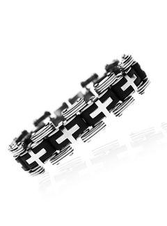 Herren Armband Edelstahl Silberfarben Schwarz Kreuz Kautschuk Gliederarmband
