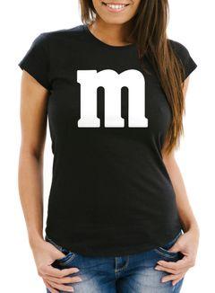 Damen T-Shirt Gruppen-Kostüm M Aufdruck Kostüm Fasching Karneval Verkleidung Moonworks®