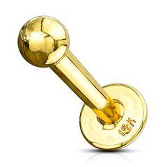 Labret Piercing 14 Karat 585 Echtgold Lippenpiercing Stab Monroe Madonna Medusa Stecker Stud Kugel Autiga®