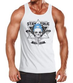 Herren Tank Top Skull Totenkopf Kopfhörer Stay True Bart Hipster Headphone Neverless®