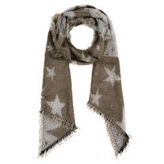 Damen Wollschal Sterne Fransen Stars Oversized Strickschal langer Winterschal Autiga®