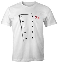 Herren T-Shirt Koch Kochjacke Chefkoch Kostüm Fasching Karneval Faschingsshirt Moonworks®